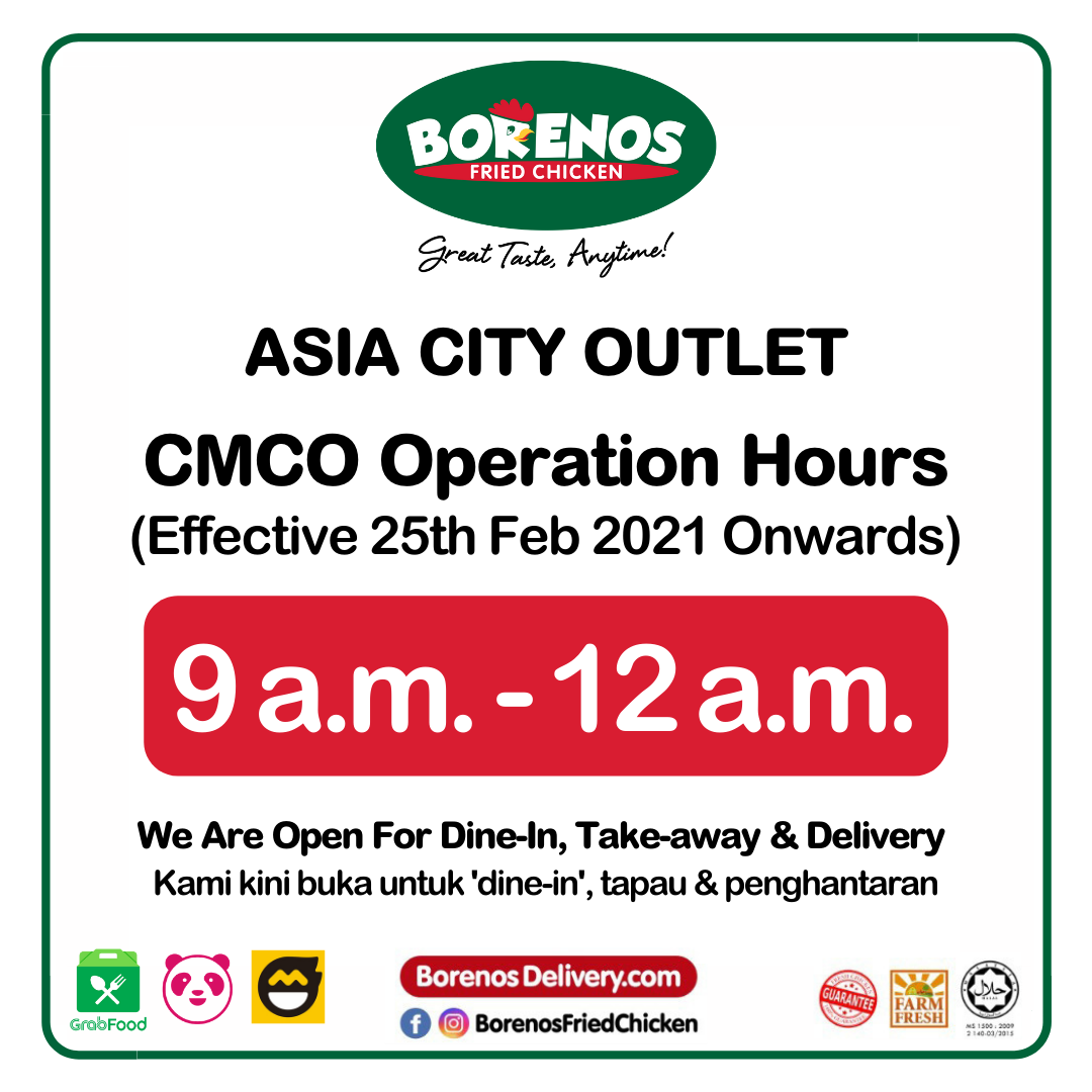 Borenos Asia City Outlet CMCO Operations Hours