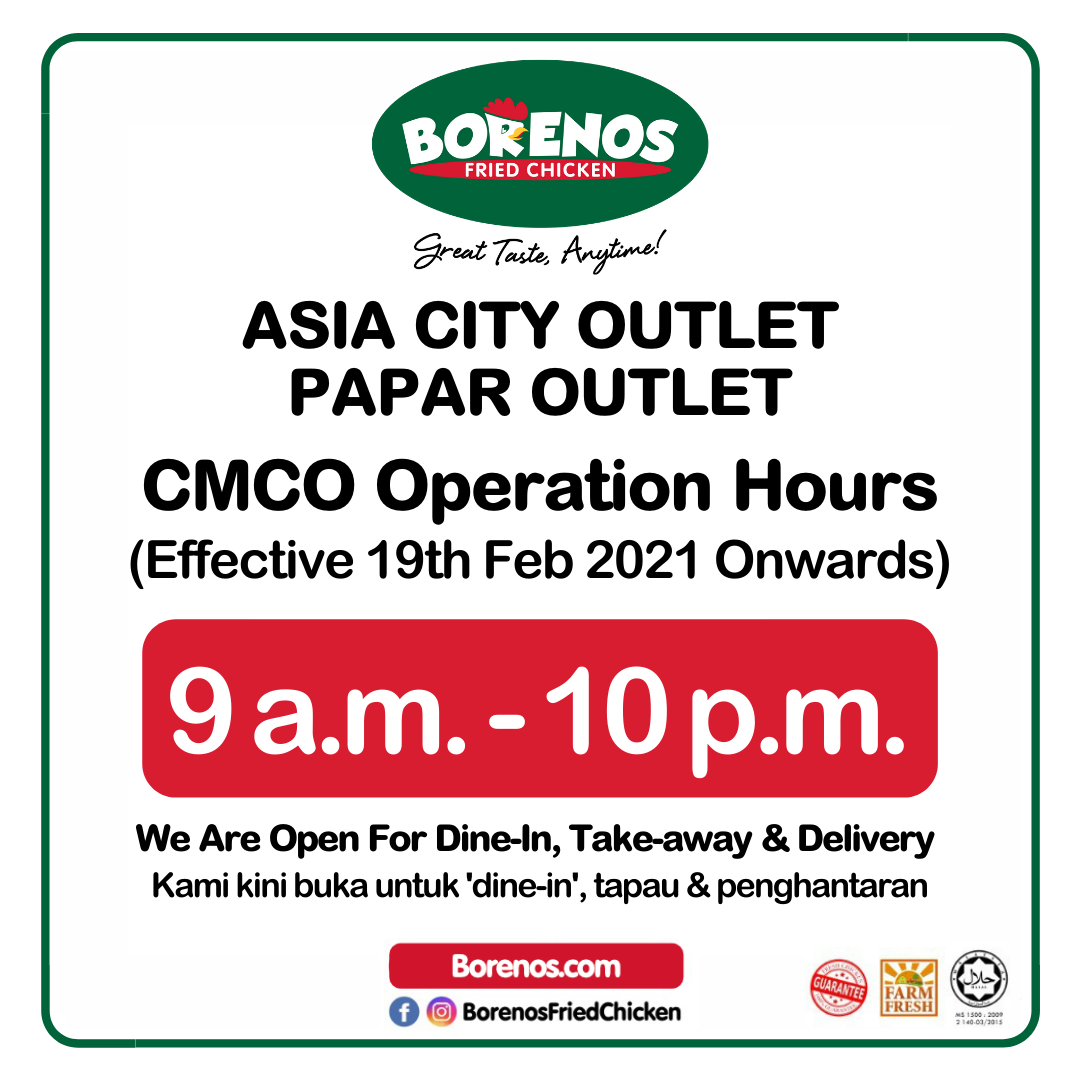 Asia City and Papar Outlet CMCO Operation Hours - Borenos